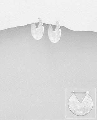 Cercei minimalisti din argint 1C-426 - cercei satinati 0