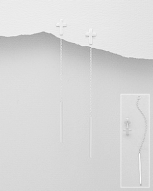 Cercei dubli din argint model cruciulita 1C-195 -elmio [0]