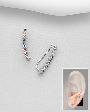 Cercei Ear cuff din argint cu zirconiu 1C-421 - Elmio 0