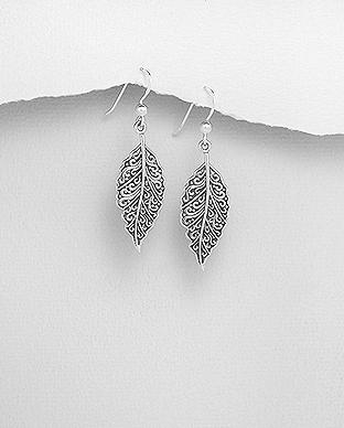 Cercei frunza din argint in filigran 1C-205 - elmio 0