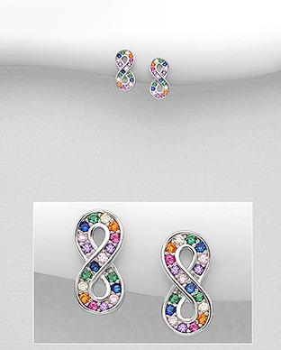 Cercei mici infinit cu pietre colorate 1C-420 [0]