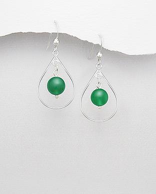Cercei cu jad verde din argint 1C-237 0