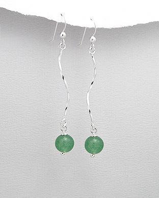 Cercei lungi spirala din argint cu jad verde 1C-235 0