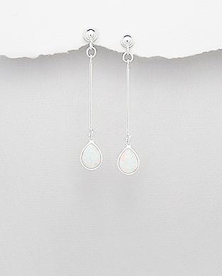 Cercei din argint cu opal alb 1C-373 0