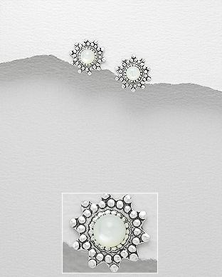 Cercei mici argint floricica sidef alb 0