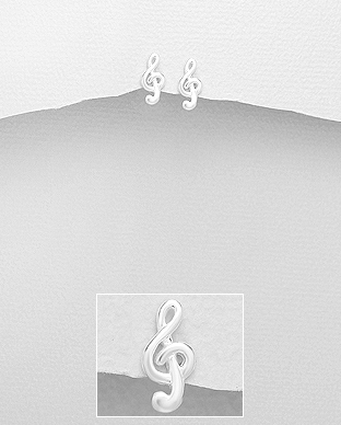 Cercei mici cheia sol din argint 1C-356 0
