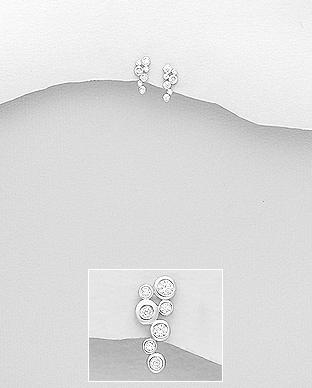 Cercei mici din argint cu pietre transparente 1C-414 0