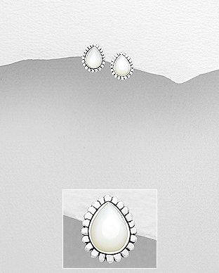 Cercei mici cu sidef alb din argint Charlotte 1C-47 [0]