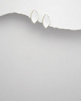 Cercei mici din argint cu sidef alb 1C-27 - Elmio.ro 0