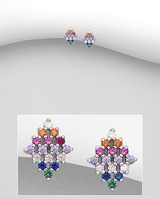 Cercei mici din argint romb multicolor 1C-83 0