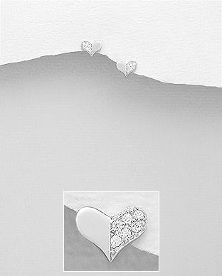 Cercei mici inimioara din argint cu pietricele 1C-59 0
