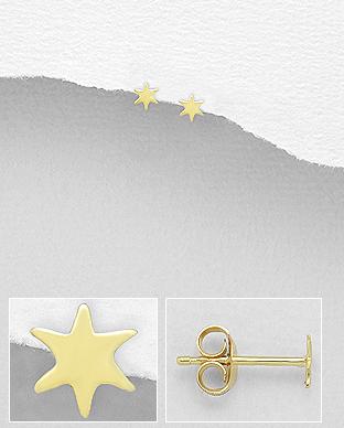 Cercei mici steluta argint placat cu aur Lyrae 1C-390 0