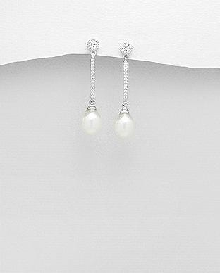 Cercei lunigi din argint cu perla de cultura si pietricele - Elmio.ro 0