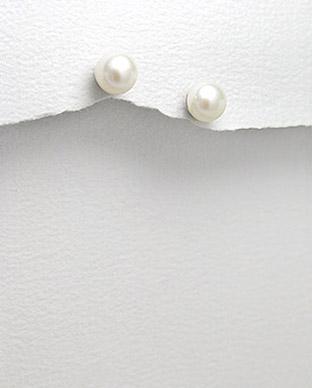 Cercei cu perla alba de cultura 7 mm 1C-402 - Elmio.ro 0