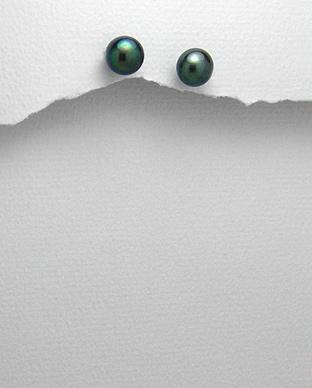 Cercei cu perla neagra de cultura 7 mm 1C-402N - Elmio.ro 0