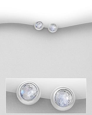 Cercei mici pe lob din argint cu piatra lunii 1C-433 - Elmio 0
