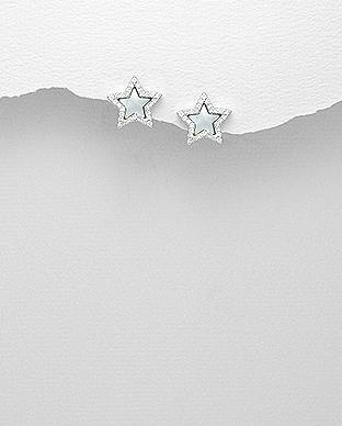 Cercei steluta din argint 925 cu zirconiu si sidef 1C-34 - Elmio.ro 0