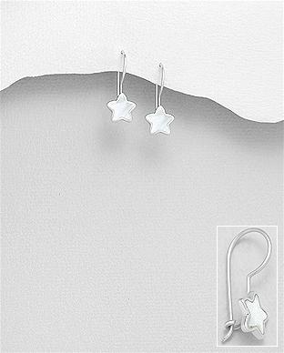 Cercei stea din argint cu sidef alb 1C-48 0