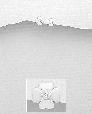 Cercei Trifoi cu patru foi & Cubic Zirconia din Argint 1C-63 0