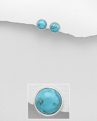 Cercei turcoaz albastru din argint 1C-403 - bijuterii argint 0