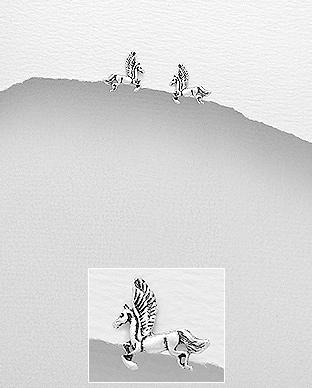 Cercei unicorn din argint aspect patinat 1C-350 0