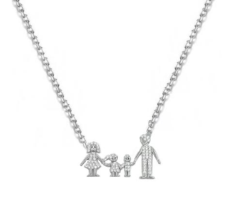 Colier Familie fetita si baiat din argint MG17-1447 [0]