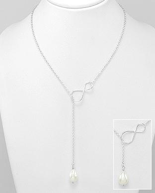 Colier model infinit din argint si perla de cultura - Elmio.ro 0
