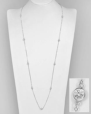 Colier lung din argint - cubic zirconia 1CL-411 - Elmio.ro 0