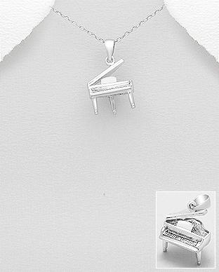 Instrument muzical pandantiv pian din argint 1P-185 - bijuterii argint 0