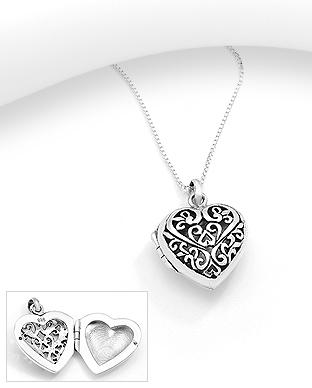 Medalion inima care se deschide pentru poza din argint 1P-435 0