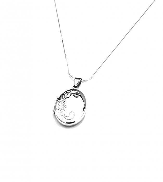Medalion pentru poza oval din argint gravat flori P3MAF-106 0