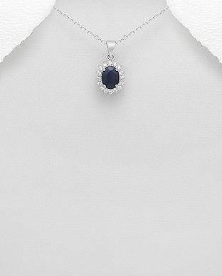 Pandaniv safir si cubic zirconia din argint 925 1P-272 - bijuterii din argint 0
