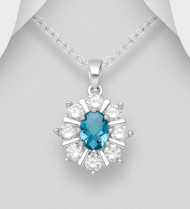 Pandant argint cu piatra albastra - Sophia 1P-89 [0]