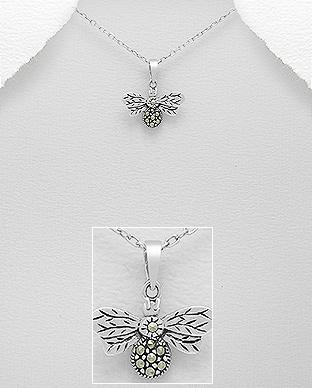 Pandantiv albina din argint cu marcasite 1P-218 | Elmio.ro 0