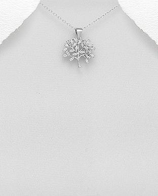 Pandantiv din argint arbore cu zirconiu 1P-71 0