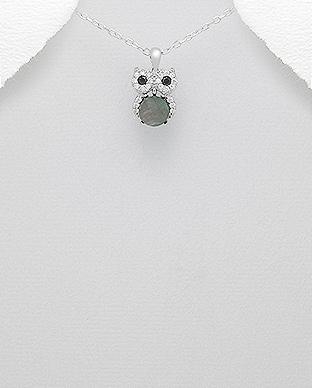 Pandantiv din argint bufnita - sidef si cubic zirconia 1P-36N [0]