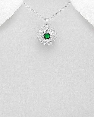 Pandantiv argint cu zirconia verde si alb 1P-102 - Bijuterii argint 0