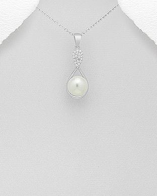 Pandantiv infinit cu perla de cultura si cubic zirconia - Elmio.ro 0