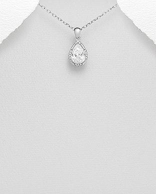 Pandantiv argint cu pietricele transparente 1P-99 - Elmio.ro 0