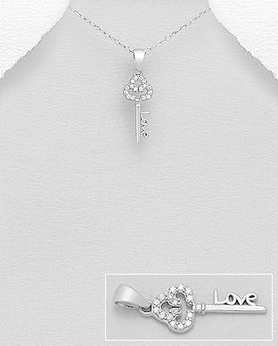 Pandantiv cheie din argint Love 1P-401 0