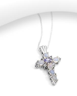 Pandantiv cruce din argint cu opal si ametist 1P-276 0