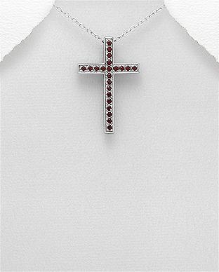 Pandantiv cruce din argint cu granat 1P-281 0