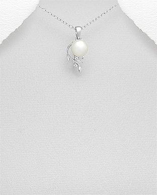Pandantiv cu perla alba de cultura si argint - Julyas 1P-16 [0]