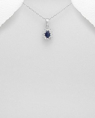 Pandantiv din argint cu Safir albastru 1P-273B - Elmio.ro 0
