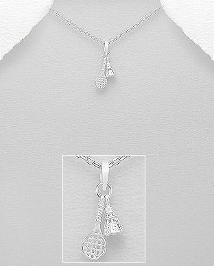 Pandantiv din argint racheta de tenis si fluturas 1P-129 - bijuterii din argint 0