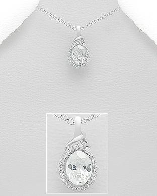 Pandantiv din argint Xenia cu cubic zirconia 1P-87 [0]