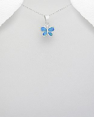 Pandantiv fluture din argint cu opal albastru marin 1P-376 0