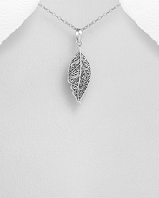 Pandantiv frunza din argint filigran 1P-187 - elmio 0