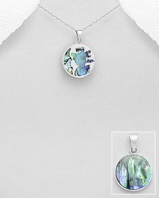 Pandantiv Glob Pamantesc din argint si abalone 1P-46 [0]