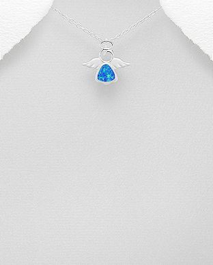 Pandantiv inger din argint cu opal albastru 1P-374 0